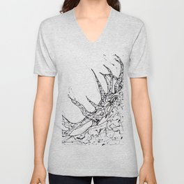 Elk  Dripped Abstract Pollock Style Unisex V-Neck