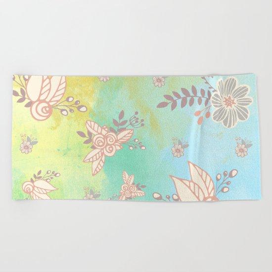 Soft flower pattern Beach Towel