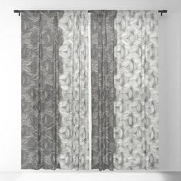 Black and White Wool Sheer Curtain