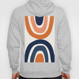 Abstract Shapes 11 in Burnt Orange and Navy Blue Hoody