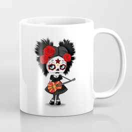 Day of the Dead Girl Playing Macedonian Flag Guitar Coffee Mug