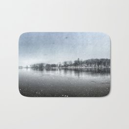 Winter Panoramic Rock River - Illinois Bath Mat