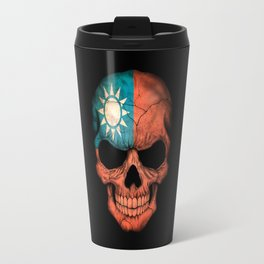 Dark Skull with Flag of Taiwan Travel Mug