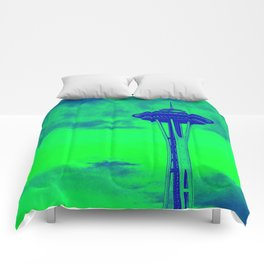 Space Needle (Seahawks Colors) Comforters