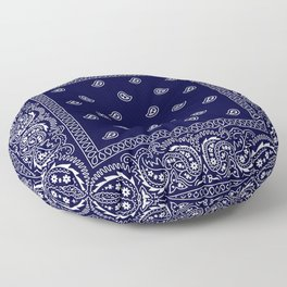 Bandana - Navy Blue - Southwestern - Paisley  Floor Pillow