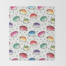 Round Rain Frogs Throw Blanket