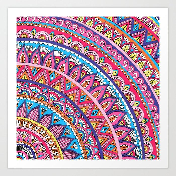 Colorful Corner Mandala Art Print By Sarahoelerich