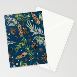 #Christmas #Pattern #Pine #Snow 10 Stationery Cards
