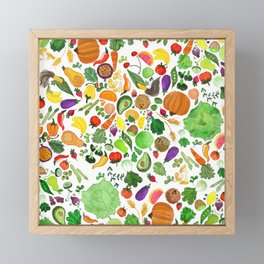 Fruit and Veg Pattern Framed Mini Art Print