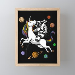 Space Astronaut Riding Unicorn Framed Mini Art Print