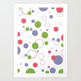 Persian Violet + Calypso Coral + Greenery Confetti Pattern Art Print