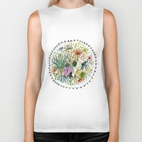 succulents Biker Tanks featuring Succulents Mandala by Hannah Margaret Illustrations