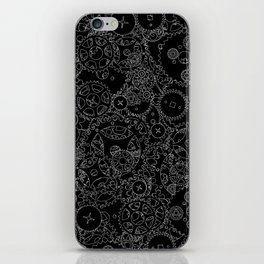 Clockwork B&W inverted / Cogs and clockwork parts lineart pattern iPhone Skin