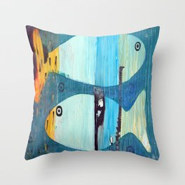 Who's looking? Blue version Throw Pillow