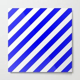 Diagonal Stripes (Blue/White) Metal Print