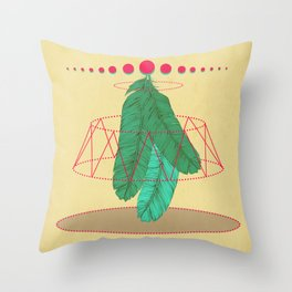 blugreenish circled feathers Throw Pillow