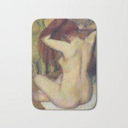 Woman Combing her Hair Bath Mat