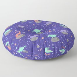 Dinosaurs Floating on Asteroids - Purple Floor Pillow