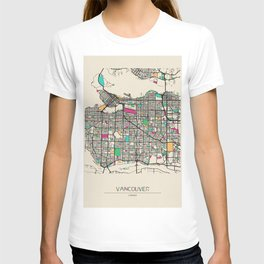 Colorful City Maps: Vancouver, Canada T-shirt