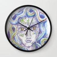 medusa Wall Clocks featuring MEDUSA by Pumpkinstrudel Studio