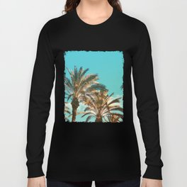 Tropical Palm Trees  - Vintage Turquoise Sky Long Sleeve T-shirt