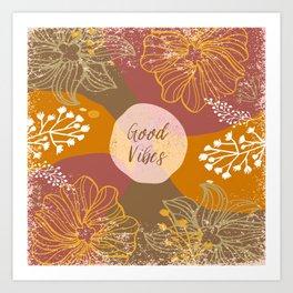 Floral Good Vibes Groovy Retro Flower Power 60s Art Print