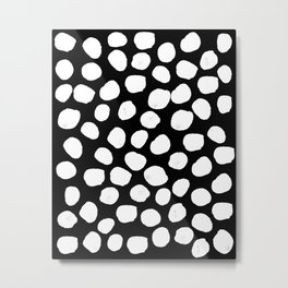 Bryan - black and white minimal dots polka dots cell phone iphone6 case trendy urban brooklyn minima Metal Print