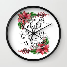 Christmas bible verse typography art Isaiah 9:6 HOLIDAZE Wall Clock