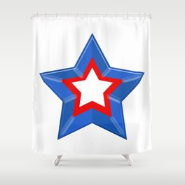 Patriotic Star Solid Red White and Blue Shower Curtain