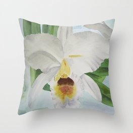 White orchid Cattleya Gaskelliana Throw Pillow