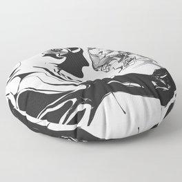 Secret 1.Black on white background. Floor Pillow