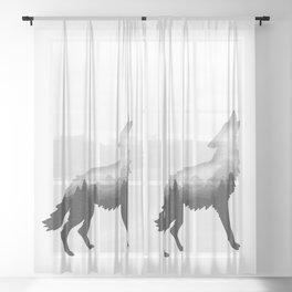 Double Exposure Wild Bear Stipple Art Animal Wildlife Wilderness Sheer Curtain