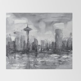 Seattle Skyline Painting Watercolor Black and White Space Needle Throw Blanket