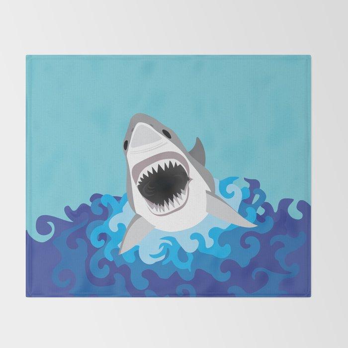 Great White Shark Attack Throw Blanket
