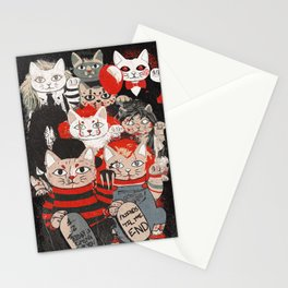 Horror Maneki Neko Vintage Gang Halloween Party 2019 T-Shirt Stationery Cards