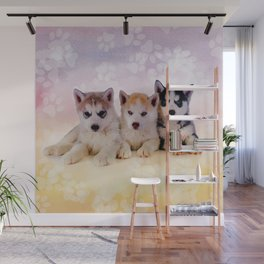 Siberian Husky Puppies Wall Mural
