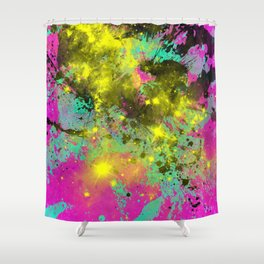 Stargazer - Abstract cyan, black, purple and yellow oil painting Shower Curtain