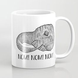 Elephant NOM! NOM! NOM! White Background Coffee Mug