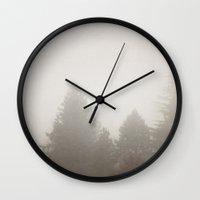 fog Wall Clocks featuring Fog by Christine Hall
