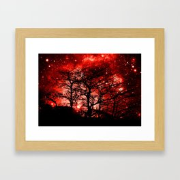 black trees red space Framed Art Print