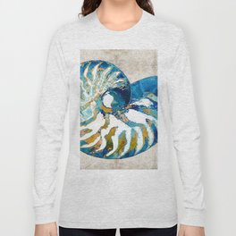 Beachy Art - Nautilus Shell Bleu - Sharon Cummings Long Sleeve T-shirt