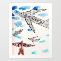 airplane Art Prints featuring Airplane by Beatriz Chamussy