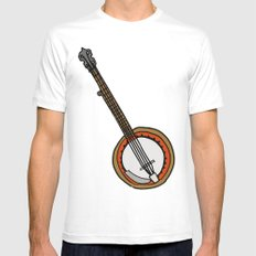 B is for Banjo, typed. MEDIUM White Mens Fitted Tee