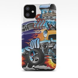 Classic Fifties Hot Rod Muscle Car Cartoon iPhone Case