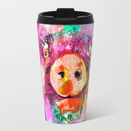 Pig Watercolor Grunge Travel Mug