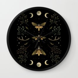 Death Head Moths Night Wall Clock