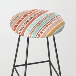 Boho Stripes - Watercolour pattern in rusts, turquoise & mustard. Nursery print Bar Stool