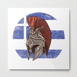 Greece Greek Spartan  TShirt Warrior Shirt Flag Gift Idea Metal Print