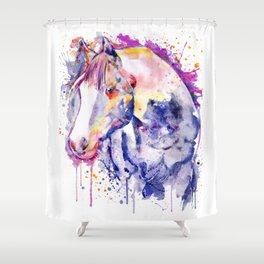 Horse Head Watercolor Portrait Shower Curtain