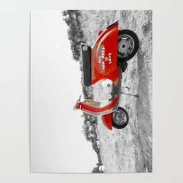 Black & White Love Mod Scooter Poster